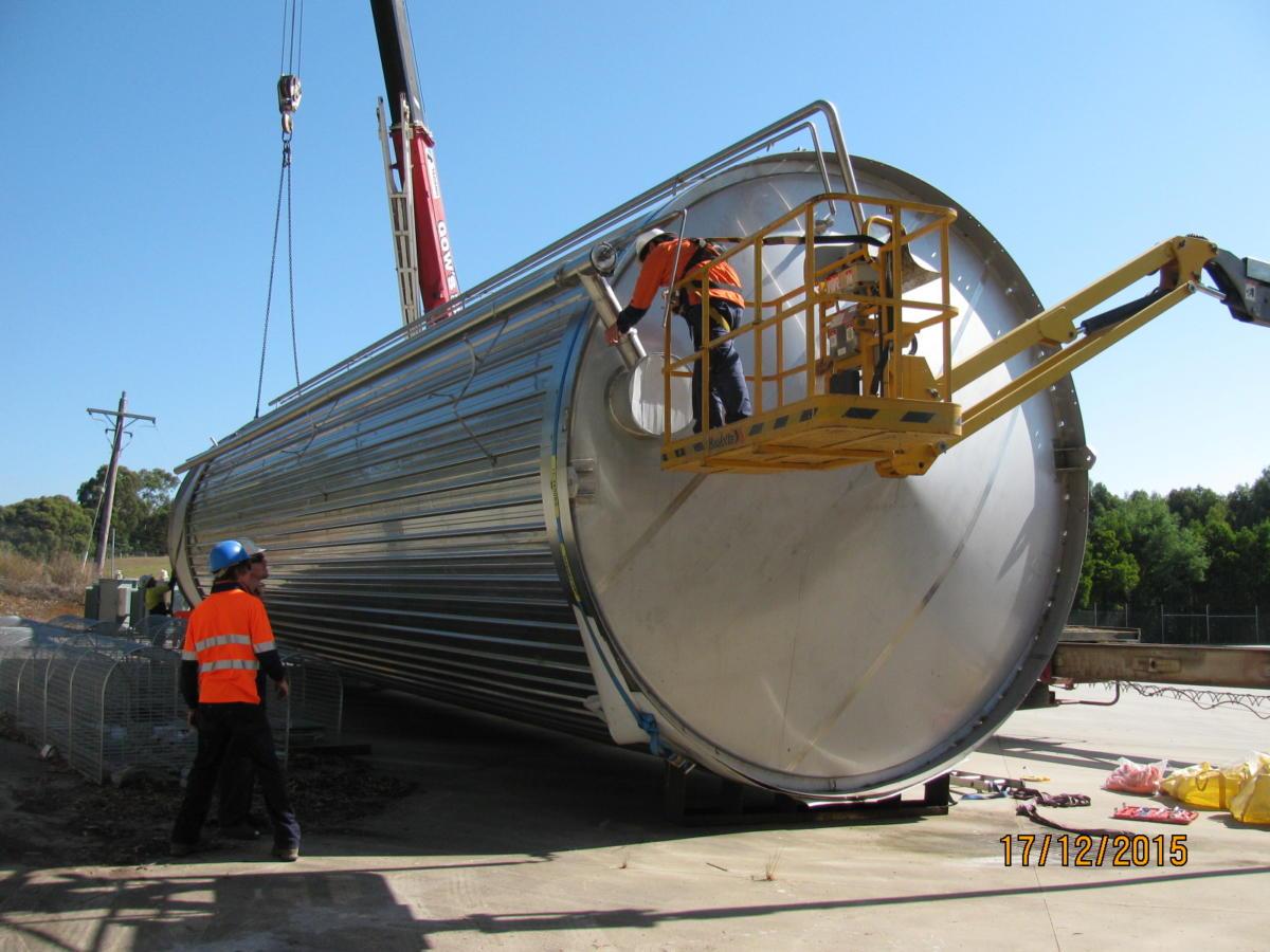 Installation Of 200 Kilolitre Stainless Steel Milk Silo
